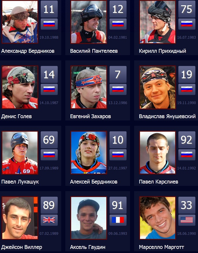 Official 2012 Russian Legion/Boston Red Legion PSP Roster