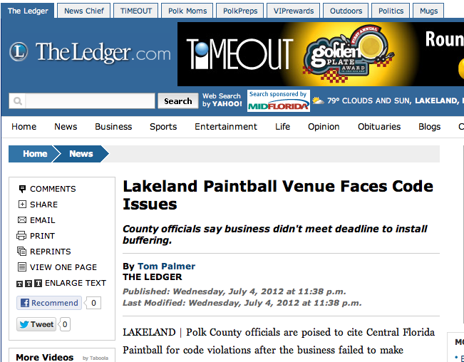 Lakeland Paintball Venue Faces Code Issues