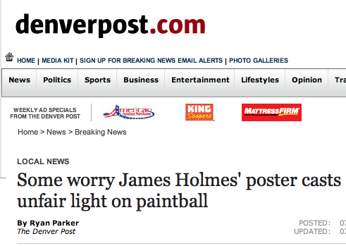 Some worry James Holmes' poster casts unfair light on paintball