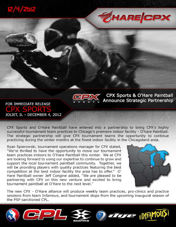 CPX Sports & O'Hare Paintball Announce Strategic Partnership