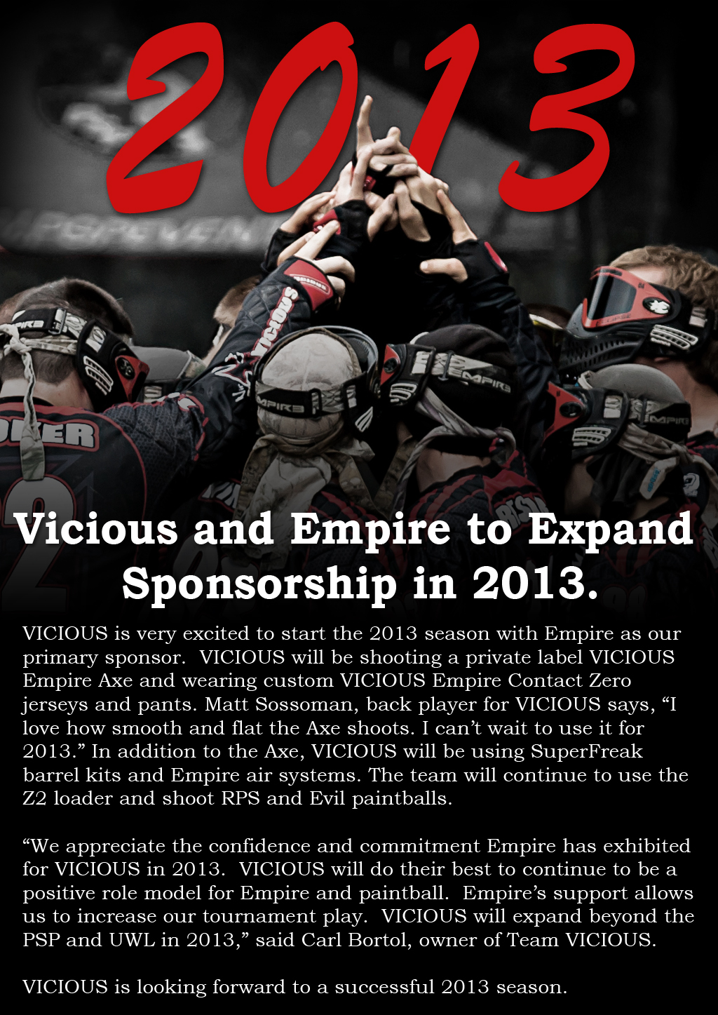 Team VICIOUS to shoot Empire AXE Marker in 2013