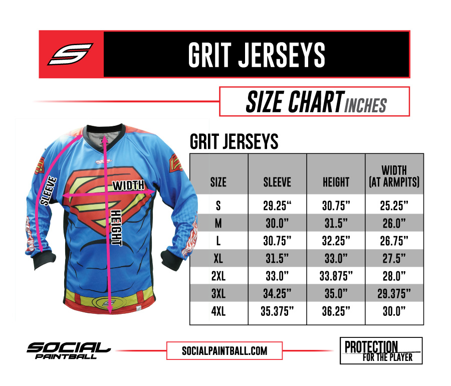 Social Paintball Custom Jersey SMPL Size Chart