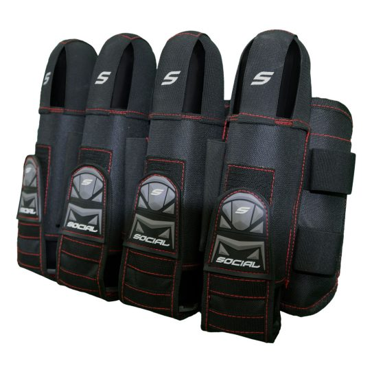 Social Paintball Grit Pack Harness 4 + 7 Black Red Front