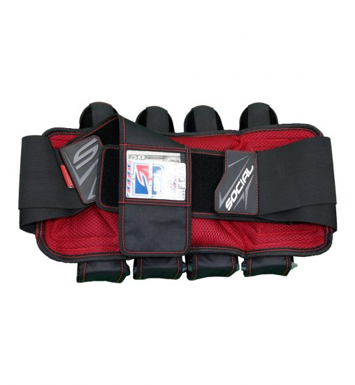 Social Paintball Grit Pack Harness 4 + 7 Black Red ID Card