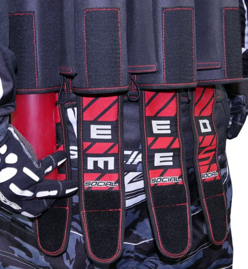 Social Paintball Grit Pack Harness 4 + 7 Black Red Feed Me