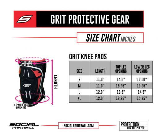 Social Paintball Grit Knee Pad Size Chart