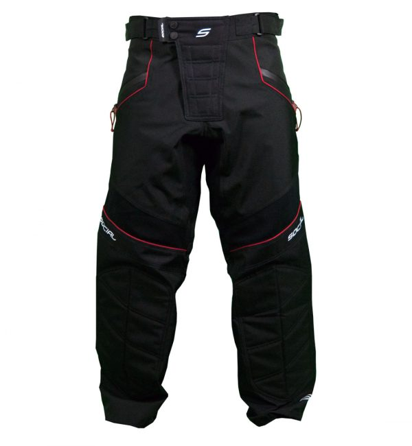 Social Paintball Grit v3 Paintball Pants Woodland Black Red Front