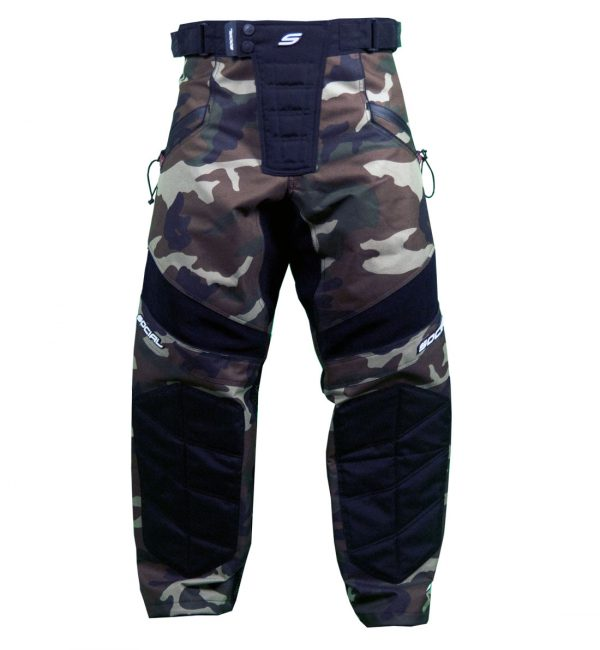 Social Paintball Grit v3 Paintball Pants Woodland Camo Front