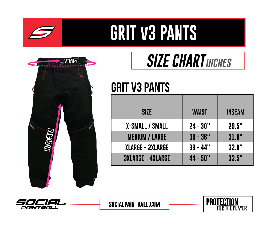 Social Paintball Grit Pants v3 Size Chart