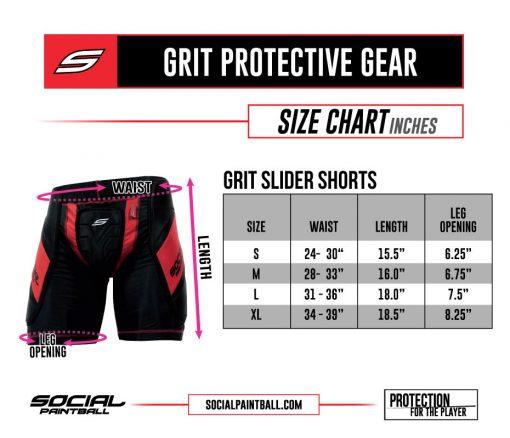 Social Paintball Grit Slider Shorts Size Chart