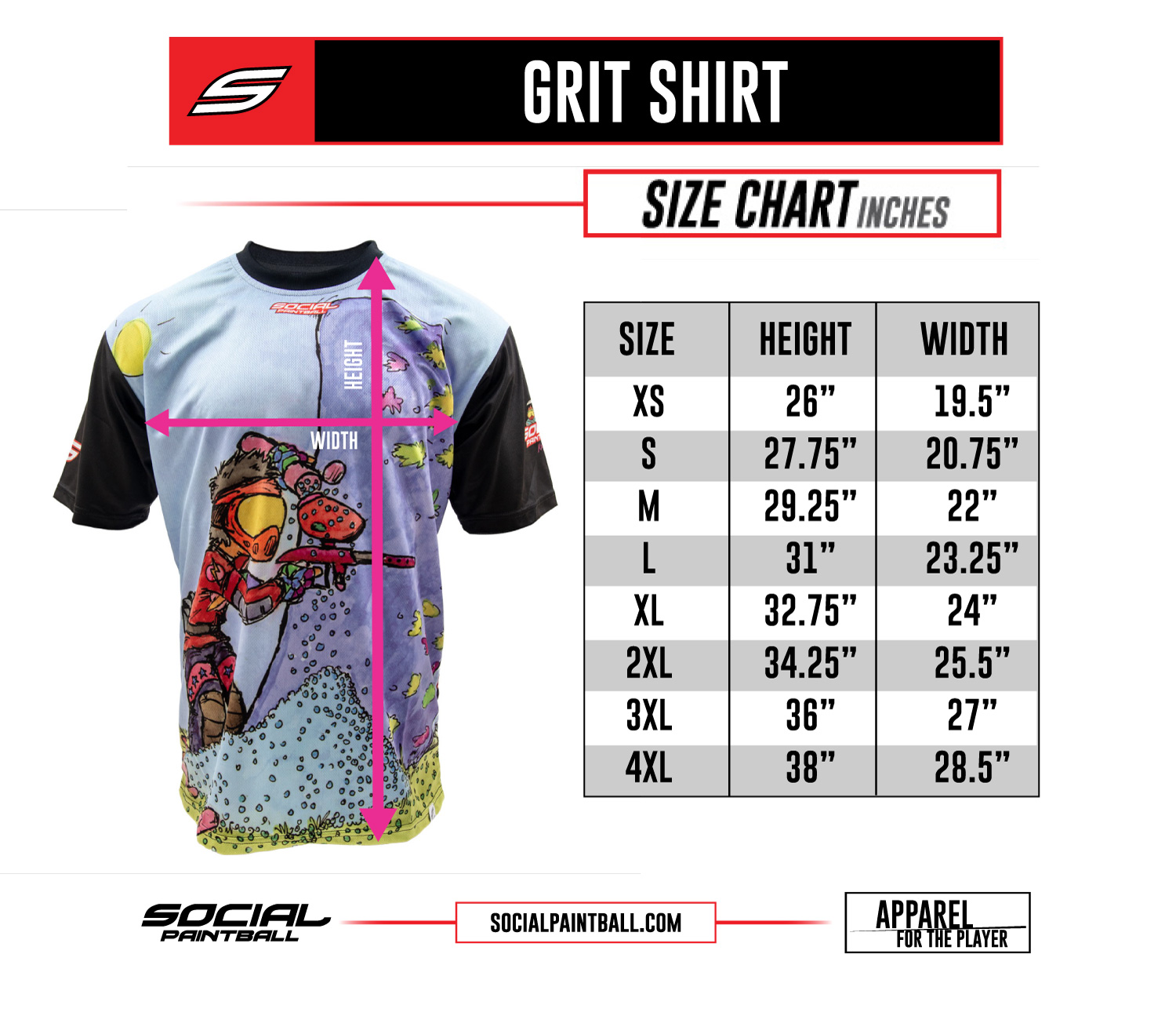 Social Paintball Custom Grit Shirt Size Chart