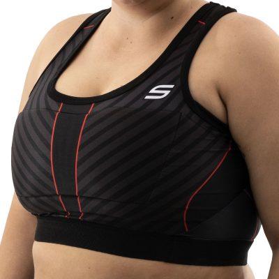 Grit Women's Racerback Padded Sports Bra, Stealth Black XL Model Side