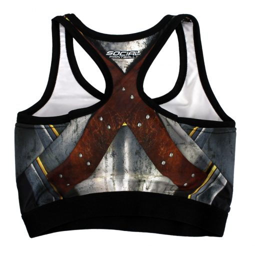 Grit Women's Racerback Padded Sports Bra, Warrior Breastplate Back Flat