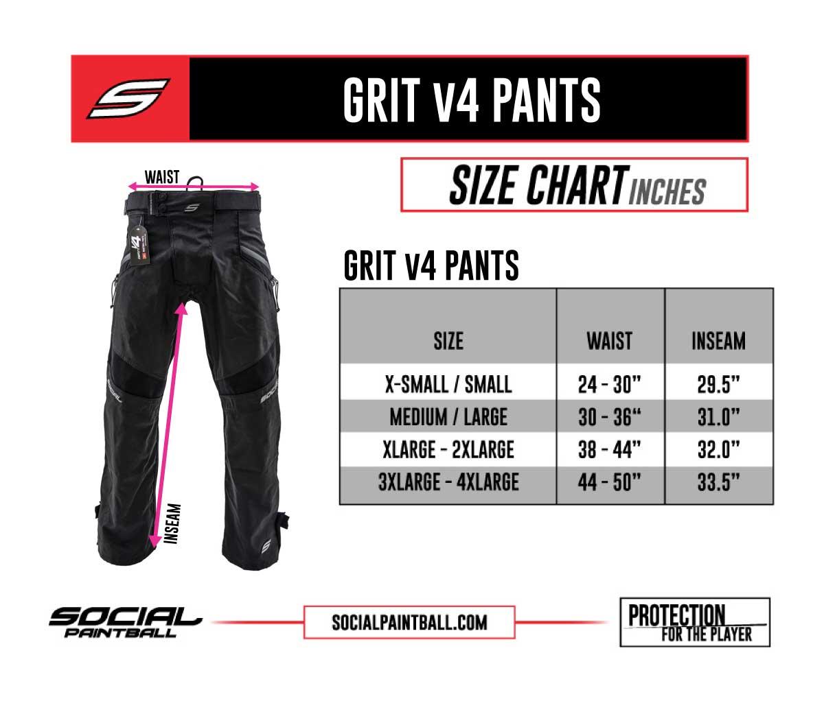 Grit v4 Pants, Black Onyx Size Chart