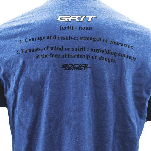 Social Paintball Men's Crew Shirt, Grit Blue Back