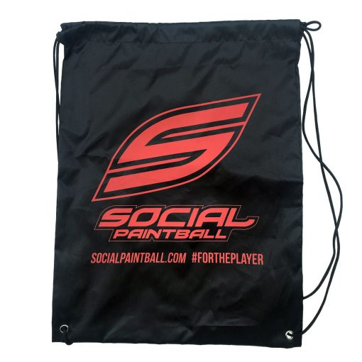 Social Paintball Drawstring Bag, Black
