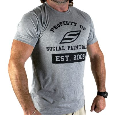 Social Paintball Men's Crew Shirt, Property Of Gray
