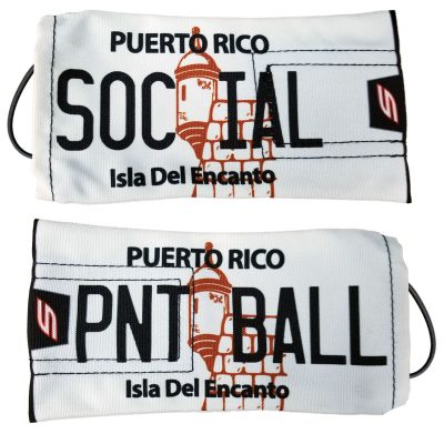 "Social Paintball Barrel Cover, Puerto Rico ""Classic White"" License Plate"