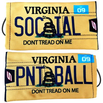 "Social Paintball Barrel Cover, Virginia Yellow ""Don't Tread On Me"" License Plate"