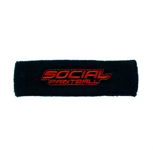Social Paintball Sweatband, Black and Red Flat