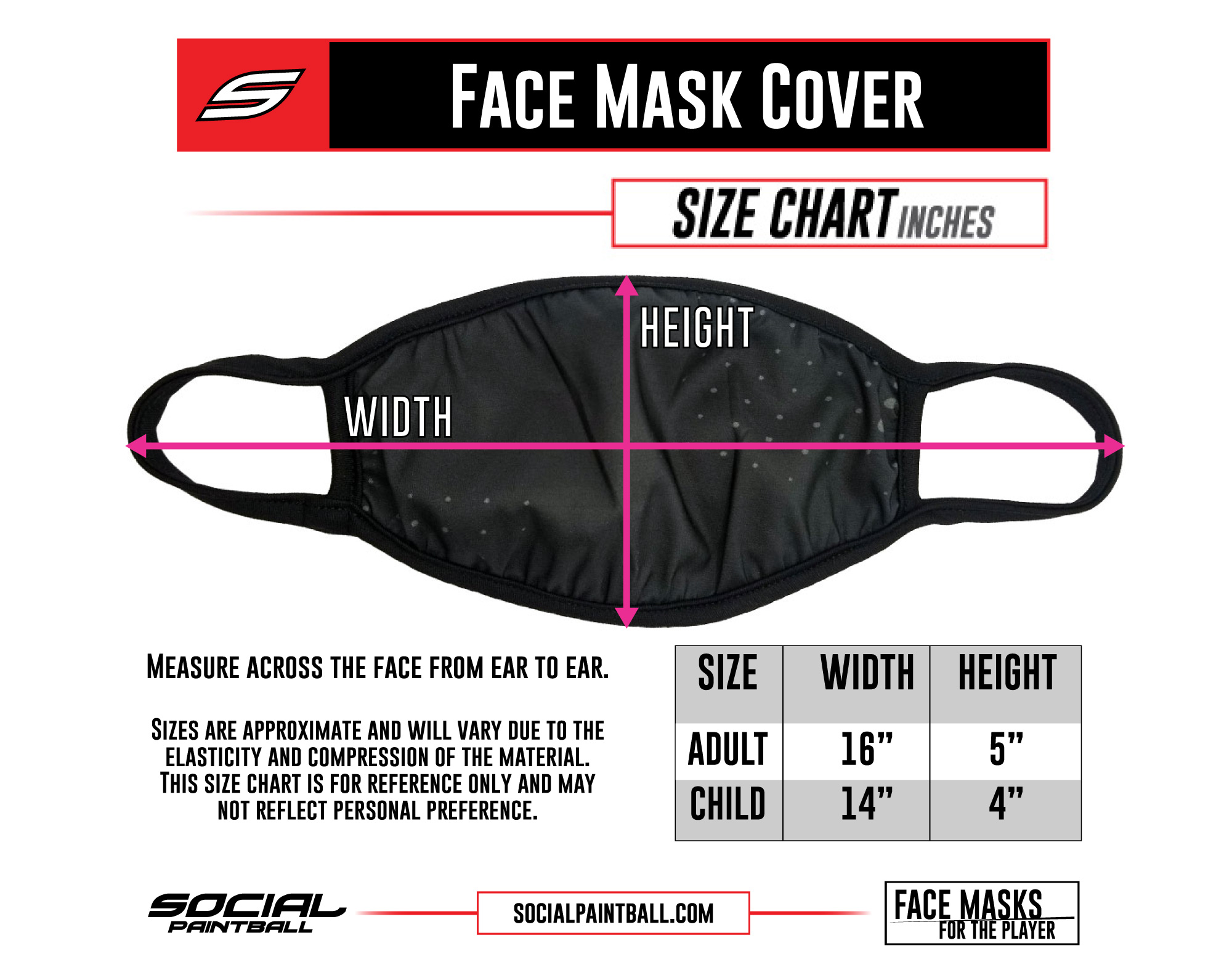 Social Paintball Face Mask Cover Size Chart