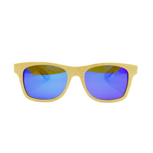 Social Paintball Bamboo Wood Sunglasses, Blue Mirror Lens Front