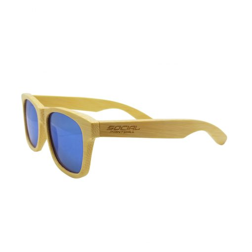 Social Paintball Bamboo Wood Sunglasses, Blue Mirror Lens Side View