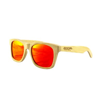 Social Paintball Bamboo Wood Sunglasses, Red Mirror Lens Side View