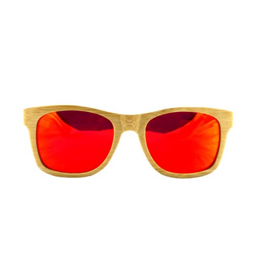 Social Paintball Bamboo Wood Sunglasses, Red Mirror Lens Front