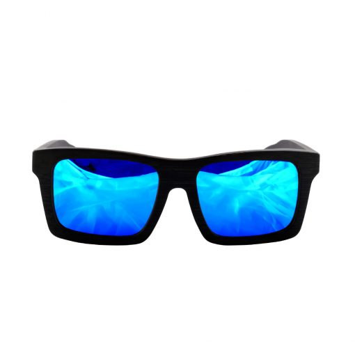 Social Paintball Black Bamboo Wood Sunglasses, Blue Mirror Lens Front