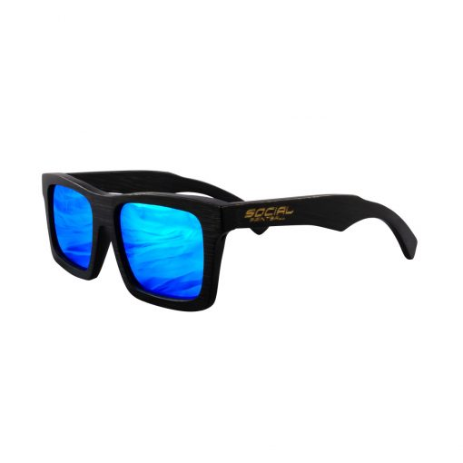 Social Paintball Black Bamboo Wood Sunglasses, Blue Mirror Lens Side View