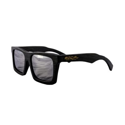 Social Paintball Black Bamboo Wood Sunglasses, Silver Mirror Lens Side View