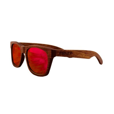 Social Paintball Rosewood Sunglasses, Red Mirror Lens Side View