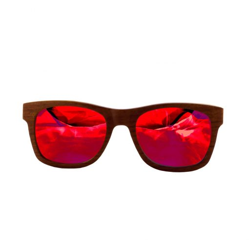 Social Paintball Rosewood Sunglasses, Red Mirror Lens Front