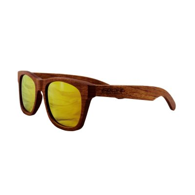 Social Paintball Rosewood Sunglasses, Yellow Mirror Lens Side View