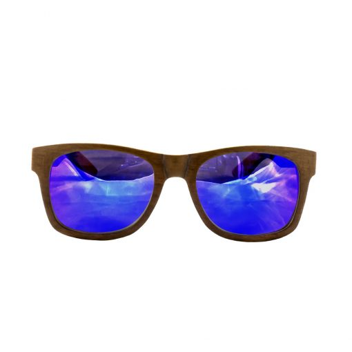 Social Paintball Recycled Skateboard Wood Sunglasses, Blue Mirror Lens Front