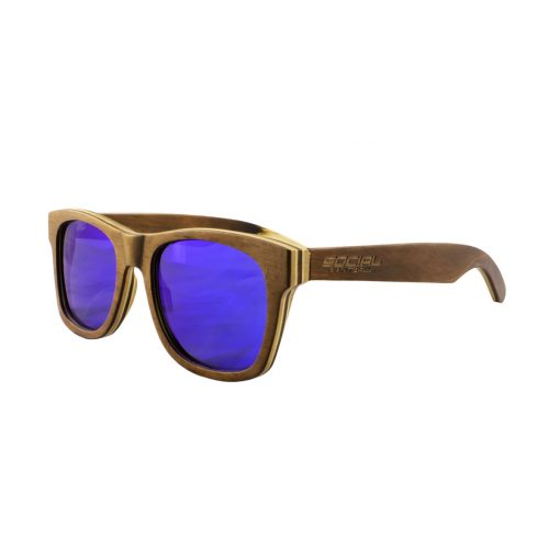 Social Paintball Recycled Skateboard Wood Sunglasses, Blue Mirror Lens Side View