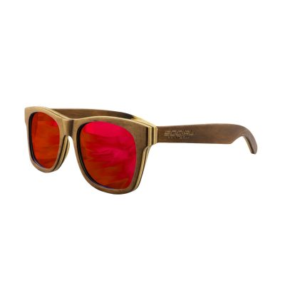 Social Paintball Recycled Skateboard Wood Sunglasses, Red Mirror Lens Side View