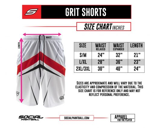 Social Paintball Grit Shorts Size Chart
