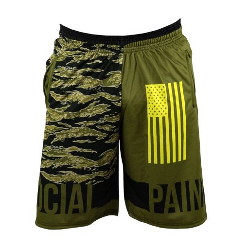 Social Paintball Grit Shorts, Tiger Olive Front