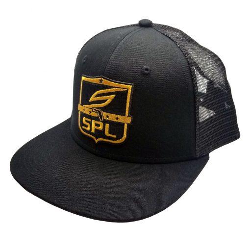 Social Paintball Snapback Hat, SPL League Shield Black Gold