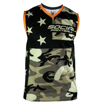 Social Paintball Grit Sleeveless Jersey, American Camo Front
