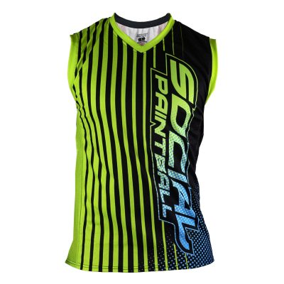 Social Paintball Grit Sleeveless Jersey, Slime Green Blue Front