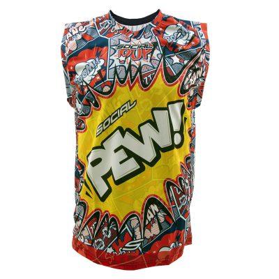 Social Paintball Grit Sleeveless Jersey, Pew Pop Art Front