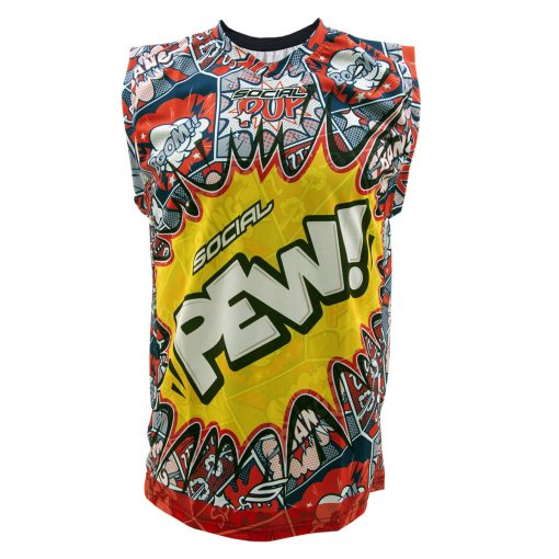 Social Paintball Grit Sleeveless Jersey, Pew Pop Art Front
