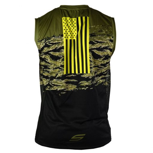 Social Paintball Grit Sleeveless Jersey, Tiger Olive Back