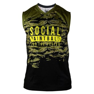 Social Paintball Grit Sleeveless Jersey, Tiger Olive Front