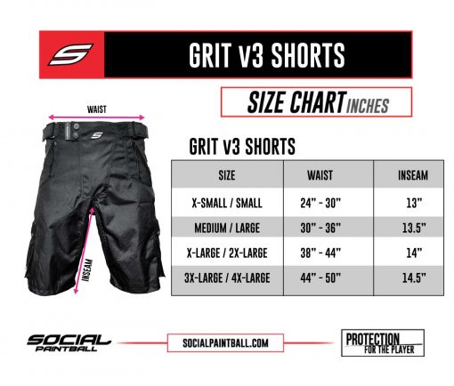 Social Paintball v3 Grit Shorts Size Chart