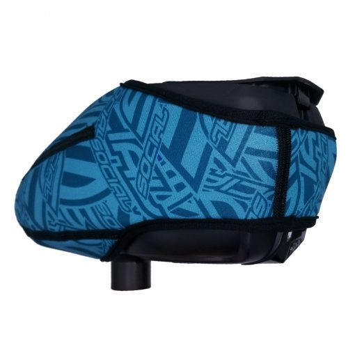 Social Paintball Omni Universal Hopper Cover, Blue Social Pattern Back