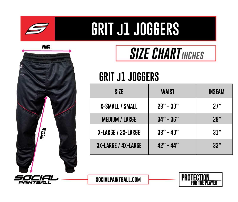 Social Paintball Grit j1 Jogger Pant Size Chart
